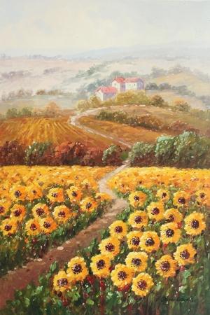 Gün Döndü, Ayçiçeği Tarlası 2 Dekoratif Doğa Manzarası Kanvas Tablo