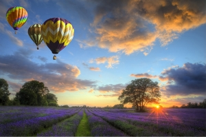 Günbatımı Uçan Balon Manzarası Kanvas Tablo