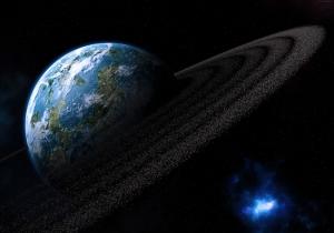 Güneş Ötesi Denizlerle Kaplı Gezegen Dünya & Uzay Kanvas Tablo