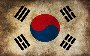 Güney Kore Bayrak Kanvas Tablo