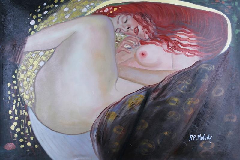 Gustav Klimt Danae Nü Kadın Yağlı Boya Reprodüksiyon Klasik Sanat Kanvas Tablo