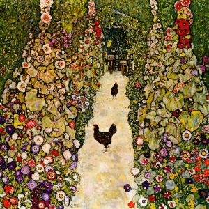 Gustav Klimt, Garden Path With Chickens, Baş Yapıt Klasik Sanat Kanvas Tablo