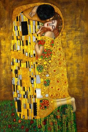 Gustav Klimt Kiss, Öpücük Baş Yapıt Klasik Sanat Kanvas Tablo
