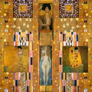 Gustav Klimt Kolaj Baş Yapıt Klasik Sanat Kanvas Tablo