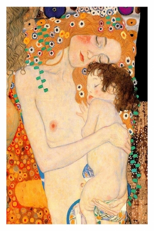 Gustav Klimt Mother And Child, Anne ve Çocuk Baş Yapıt Klasik Sanat Kanvas Tablo