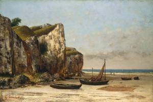 Gustave Courbet Normandiya Sahildeki Tekneler Klasik Sanat Kanvas Tablo