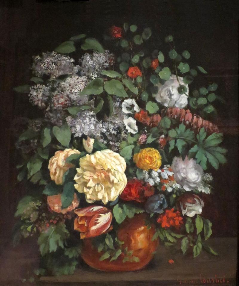 Gustave Courbet  Vazo İçinde Çiçekler Klasik Sanat Kanvas Tablo