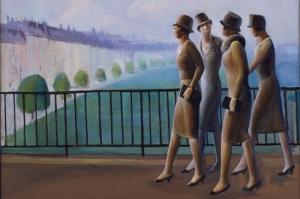 Guy Pene Du Bois Paris'deki Amerikalılar Soyut Yağlı Boya Klasik Sanat Canvas Tablo