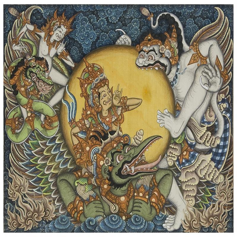 Hanoman And Surya Ketut Madra Endonezya Mitoloji Modern Sanat Kanvas Tablo