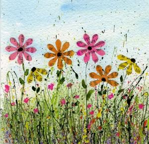 Harfler ve Çiçekler Yağlı Boya Sanat Kanvas Tablo