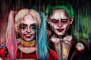 Harley Quinn Joker Artwork Kanvas Tablo