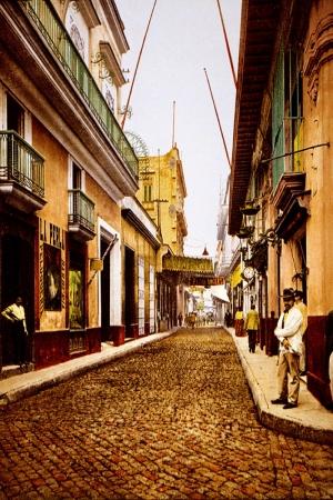 Havana Küba Sokak Manzarası-1 Dünyaca Ünlü Şehirler Kanvas Tablo