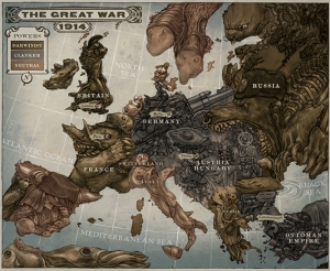 Hayvan İllustrasyon Dünya Savaş Haritası