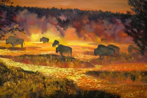 Hayvanlar 11 Bufolo Yağlı Boya Sanat Kanvas Tablo