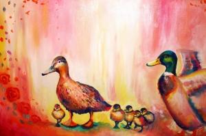 Hayvanlar 12 Minik Renkli Ördekler Yağlı Boya Sanat Kanvas Tablo