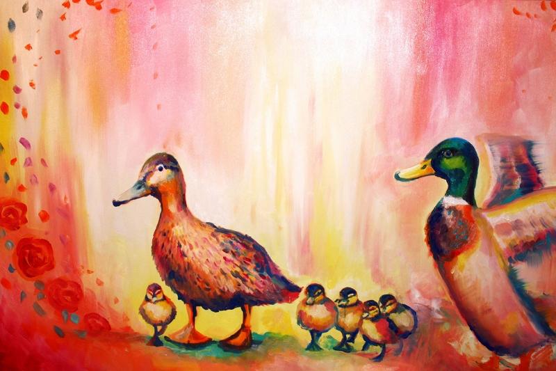 Hayvanlar 12 Minik Renkli Ordekler Yagli Boya Sanat Kanvas Tablo