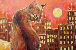 Hayvanlar 14 Akşam Kedileri Modern Sanat Kanvas Tablo