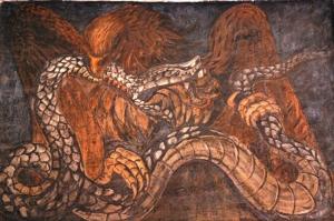 Hayvanlar 2 Kartal Yılan Yağlı Boya Hayvanlar Sanat Kanvas Tablo