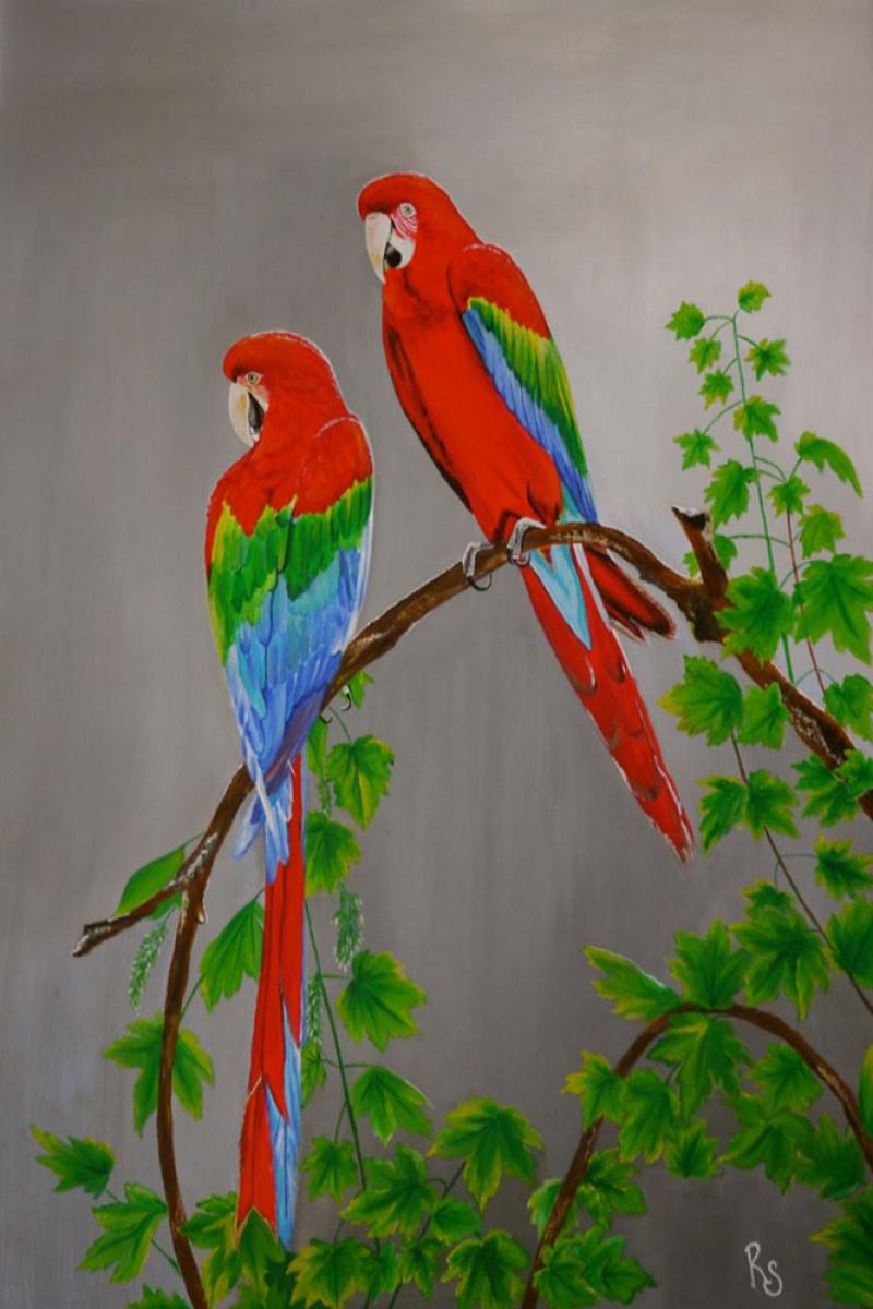 Hayvanlar 4, Cennet Papağanları , Dekoratif Kanvas Tablo