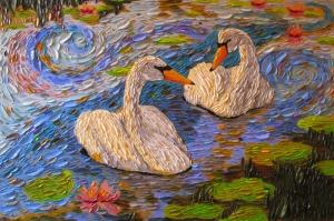 Hayvanlar 5 Kazların Aşkı Hayvanlar 1 Yağlı Boya Sanat Kanvas Tablo