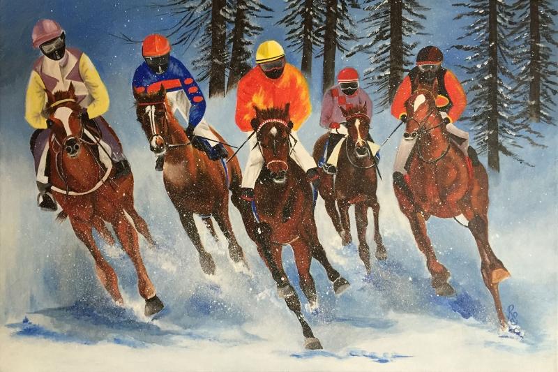 Hayvanlar 9 Atlar Hayvanlar 4 Yarış Atları Yağlı Boya Sanat Kanvas Tablo