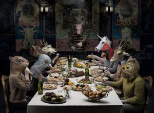 Hayvanlar Yemek Masasında Popüler Kültür Kanvas Tablo