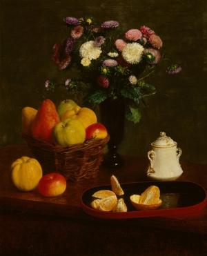 Henri Fantin Latour Meyve Ve Cicekler Yağlı Klasik Boya Sanat Kanvas Tablo