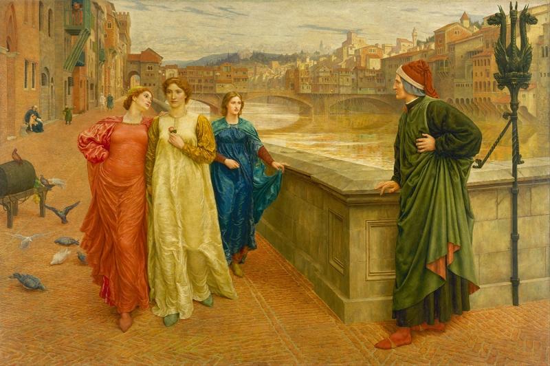 Henry Holiday Ressam Dante ve Beatrice Yagli Boya Klasik Sanat Kanvas Tablo