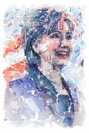 Hillary Clinton Mozaik İllustrasyon Kanvas Tablo
