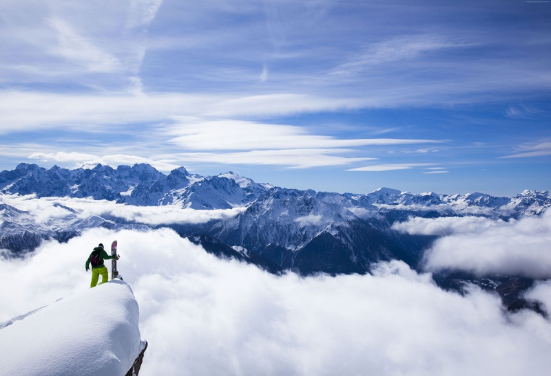 Himalayas Kangchenjunga Snowboard Spor Kanvas Tablo
