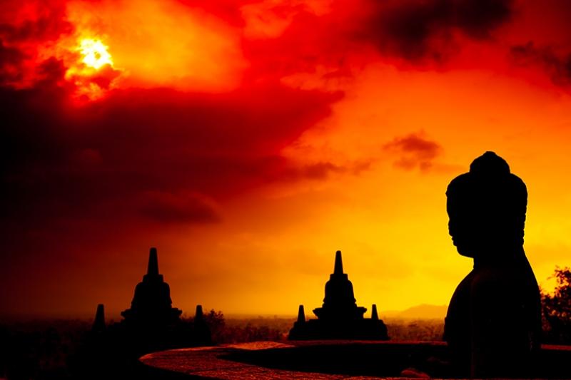 Hindistan Budizm Gün Batımı Manzarası Kanvas Tablo