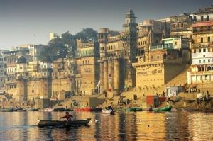 Hindistan Ganj Irmagi Kayiklar Sehir Manzarasi Yagli Boya Sanat Kanvas Tablo