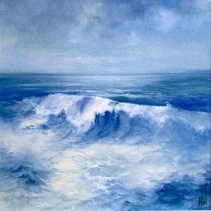 Hırçın Dalgalar 3, Mavi Deniz Dekoratif Kanvas Tablo
