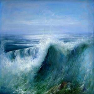 Hırçın Dalgalar 4, Mavi Deniz Dekoratif Kanvas Tablo