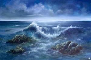 Hırçın Dalgalar 6 Sahil Manzara Yağlı Boya Sanat Kanvas Tablo
