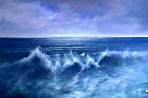 Hırçın Dalgalar 7 Sahil Manzara Yağlı Boya Sanat Kanvas Tablo