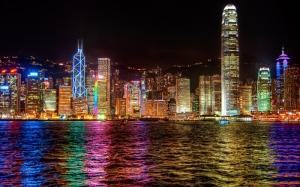 Hong Kong Gece Dünyaca Ünlü Şehirler Kanvas Tablo