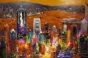 Hong Kong Gün Batımı Şehir Manzarası Yağlı Boya Sanat Kanvas Tablo