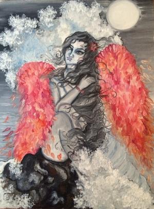 Hüzünlü Melek Yağlı Boya Sanat Kanvas Tablo