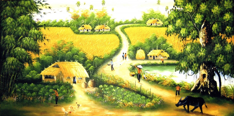 Huzura Doğru, Endonezya Pirinç Hasadı Manzara Kanvas Tablo