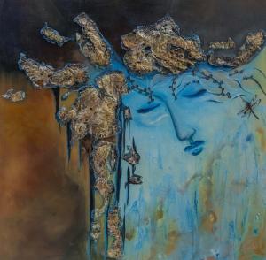 Hüzünlü Kadın Abstract Soyut Yağlı Boya Sanat Kanvas Tablo