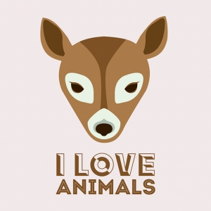 I Love Animals Hayvanlar Kanvas Tablo