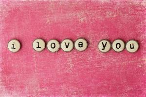 I love You Pembe Kağıt Retro Aşk & Sevgi Kanvas Tablo