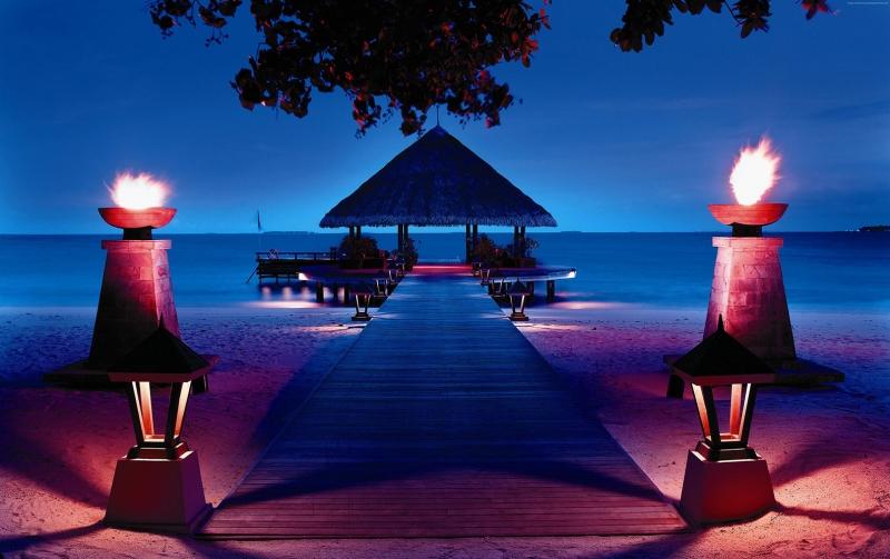 İhuru Maldivler Sahil Doğa Manzaraları Kanvas Tablo