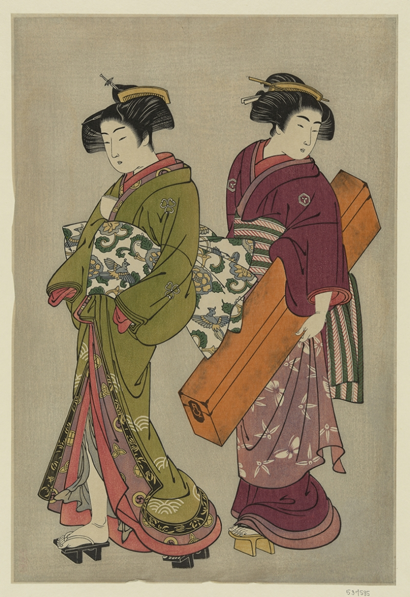 İki Japon Güzel Yağlı Boya Sanat Kanvas Tablo