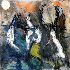 İlişkiler Abstract Kompozisyon Yağlı Boya Sanat Kanvas Tablo