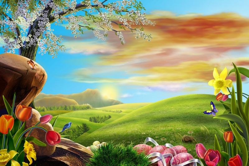 İlkbahar Çiçekler Doğa manzarası 1  Dekoratif Kanvas Tablo Arttablo