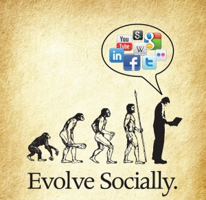 İnsanın Maymun Evrimi Sosyal Medya Popüler Kültür Kanvas Tablo
