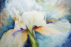 İris Çiçek 2 Sulu Boya Sanat Kanvas Tablo