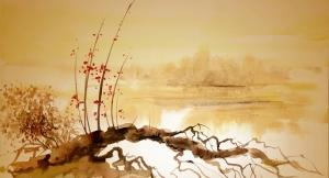 Irmak Kenarında Bir Ağaç Japon Sanatı